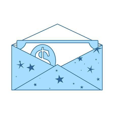 Birthday Gift Envelop Icon With Money. Thin Line With Blue Fill Design. Vector Illustration.