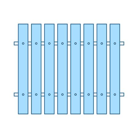 Icon Of Construction Fence In Ui Colors. Thin Line With Blue Fill Design. Vector Illustration.
