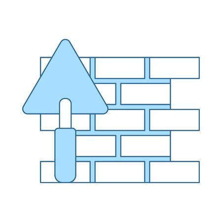 Icon Of Brick Wall With Trowel. Thin Line With Blue Fill Design. Vector Illustration.