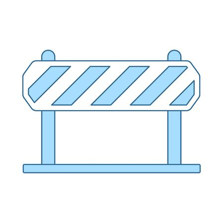 Icon Of Construction Fence. Thin Line With Blue Fill Design. Vector Illustration.