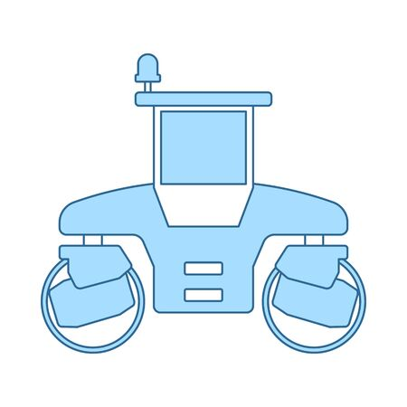 Icon Of Road Roller. Thin Line With Blue Fill Design. Vector Illustration.