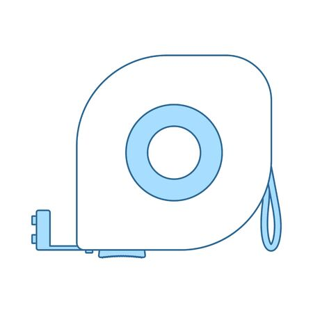 Icon Of Constriction Tape Measure. Thin Line With Blue Fill Design. Vector Illustration.
