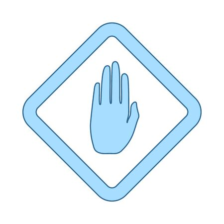 Icon Of Warning Hand. Thin Line With Blue Fill Design. Vector Illustration.