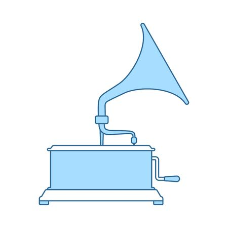 Gramophone Icon. Thin Line With Blue Fill Design. Vector Illustration.