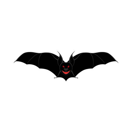 Scary Bat Over White Background for Creating Halloween Designs. Vector illustration.