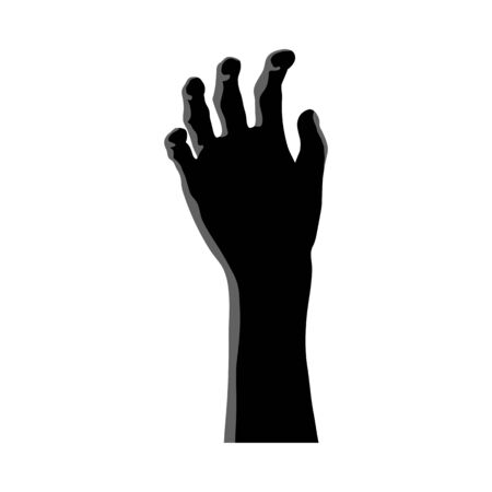 Zombie Hand Over White Background for Creating Halloween Designs.