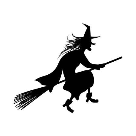 Witch On Broomstick  Over White Background for Creating Halloween Designs.