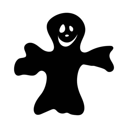 Cartoon Ghost Over White Background for Creating Halloween Designs.