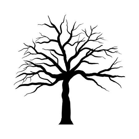 Halloween Cartoon Tree. Black Simple Design. Vector illustration.