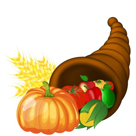 Thanksgiving day greeting card. Design consist from cornucopia pumpkin, pepper, tomato, apple, ears of wheat and corn over white background.  Very cute and warm colors. Ilustração