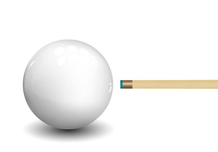 Billiard (snooker) ball with aiming cue on white background.