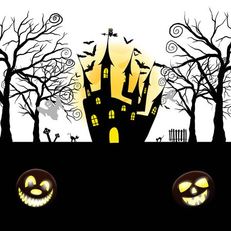 Happy Halloween Greeting Card. Elegant Design With Pumpkin, Moon, Tree, Grave, Castle, Spooky and Cats   Over Grunge Dark Blue Starry Sky Background. Ilustração