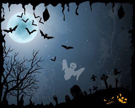 Glückliche Halloween-Grußkarte. Elegantes Design mit Fledermäusen, Spooky, Grab, Friedhof, Baum und Mond über Orange Grunge Sternenhimmel Hintergrund mit Tintenflecken. Vektorgrafik