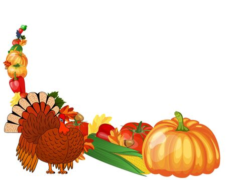 Thanksgiving day greeting card. Design consist from pumpkin, pepper, tomato, apple, grape, corn, oak leaves, acorns and turkey  on white background.  Very cute and warm colors. Çizim