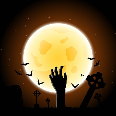 Happy Halloween Greeting Card. Elegant Design With Zombie Hand, Bat, Grave, Cemetery and Moon  Over Grunge Dark Blue Starry Sky Background.
