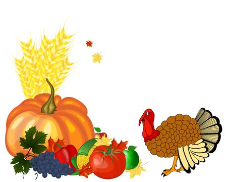 Thanksgiving day greeting card. Design consist from pumpkin, pepper, tomato, apple, grape, corn, maple leaves and turkey  on white background. Ilustração