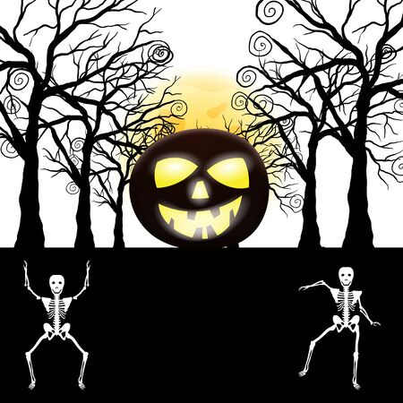 Happy Halloween Greeting Card. Elegant Design With Pumpkin, Moon, Tree and Skeleton Over Grunge Dark Blue Starry Sky Background. Vector illustration.