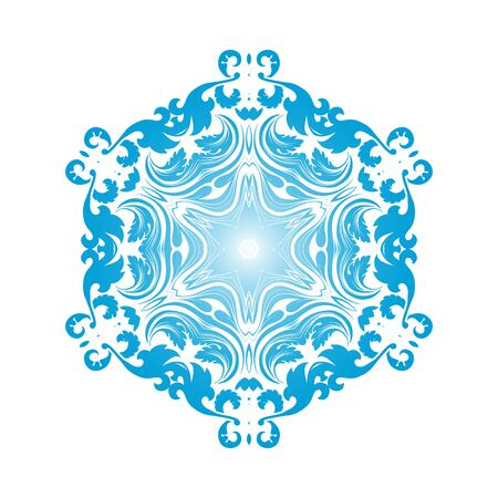 Circle Snowflake Ornaments. Blue Gradient Design. Vector Illustration.