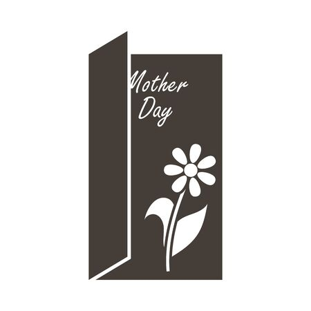 Mother's day emblem with open greeting card. Vector illustration.