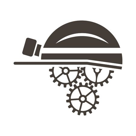 Labour day emblem with helmet and gears. Vector illustration.