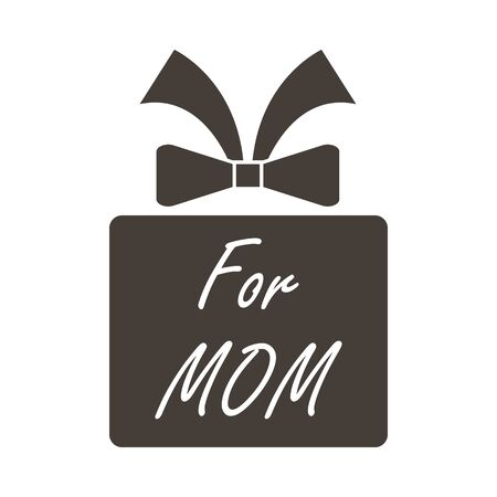 Mother's day emblem with gift box. Vector illustration.