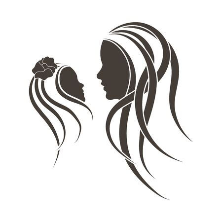 Mother's day emblem with silhouettes of mother and daughter. Vector illustration. Ilustração