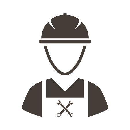 Labour day emblem with worker in coveralls. Vector illustration.