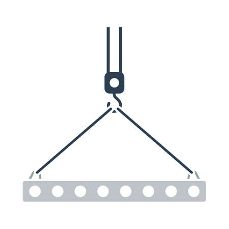 Icon Of Slab Hanged On Crane Hook By Rope Slings. Outline With Color Fill Design. Vector Illustration. Ilustração