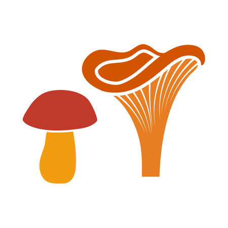 Mushroom Icon. Flat Color Design. Vector Illustration. 向量圖像