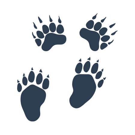 Icon Of Bear Trails. Flat Color Design. Vector Illustration.
