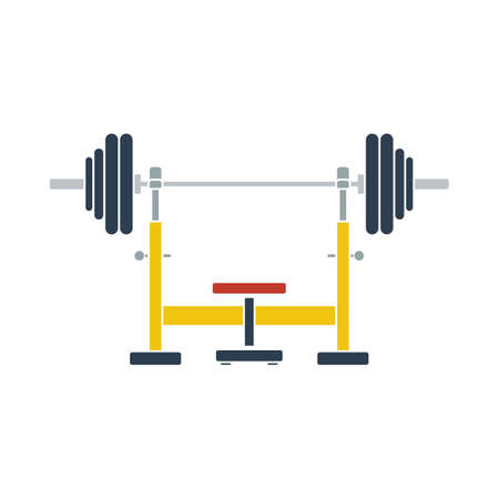 Icon Of Bench With Barbell. Flat Color Design. Vector Illustration.