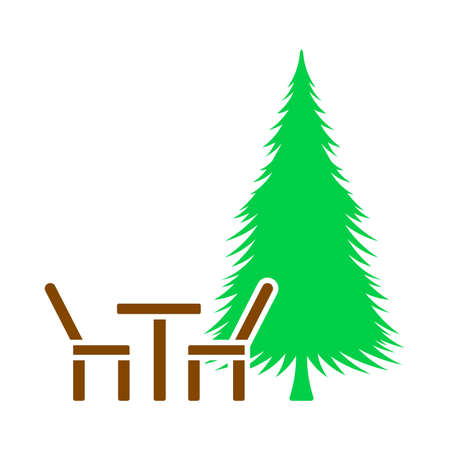 Icon Of Park Seat And Pine Tree. Flat Color Design. Vector Illustration.