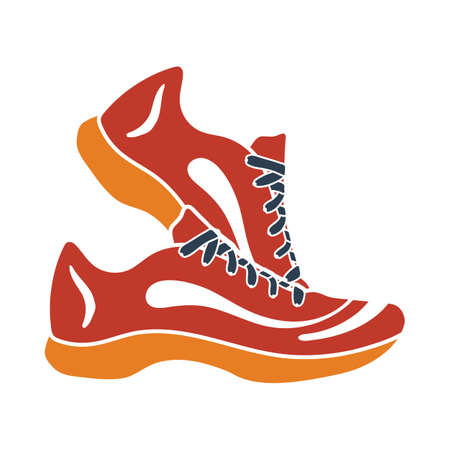 Icon Of Fitness Sneakers. Flat Color Design. Vector Illustration.