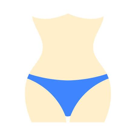 Icon Of Slim Waist. Flat Color Design. Vector Illustration.