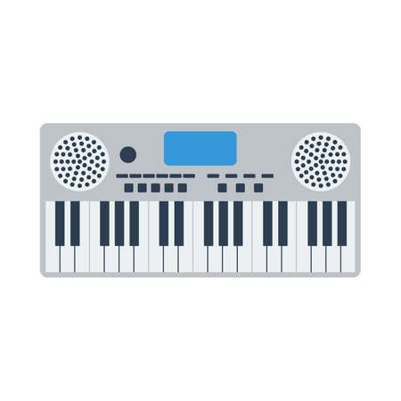 Music Synthesizer Icon. Flat Color Design. Vector Illustration.