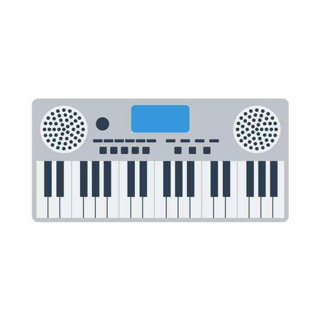 Music Synthesizer Icon. Flat Color Design. Vector Illustration. Ilustração