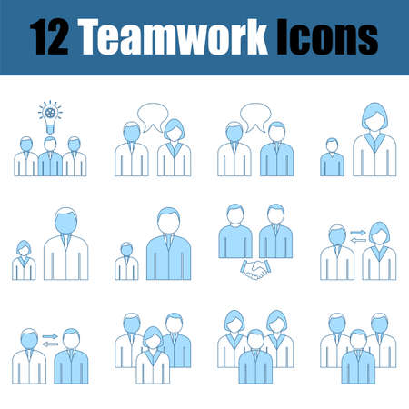 Teamwork Icon Set. Thin Line With Blue Fill Design. Vector Illustration.
