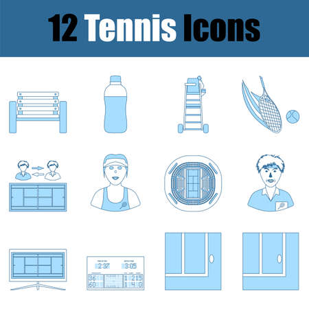 Tennis Icon Set. Thin Line With Blue Fill Design. Vector Illustration.