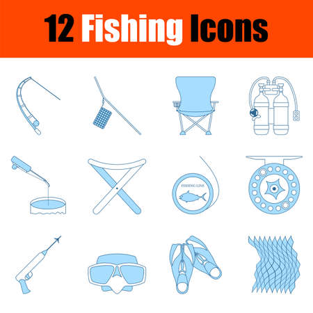 Fishing Icon Set. Thin Line With Blue Fill Design. Vector Illustration.