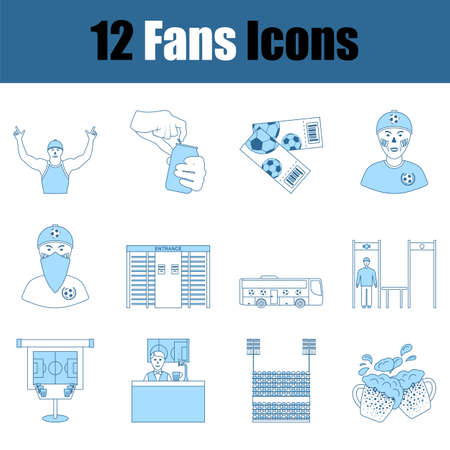 Fans Icon Set. Thin Line With Blue Fill Design. Vector Illustration.