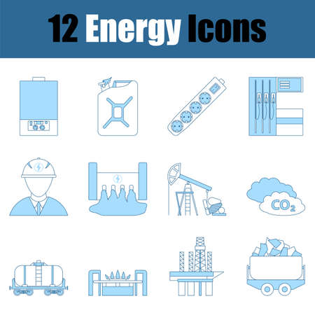Energy Icon Set. Thin Line With Blue Fill Design. Vector Illustration.