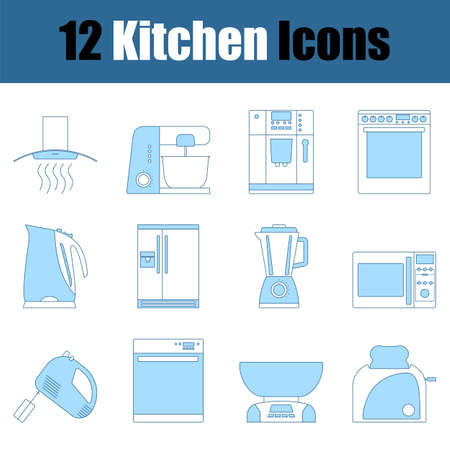 Kitchen Icon Set. Thin Line With Blue Fill Design. Vector Illustration.