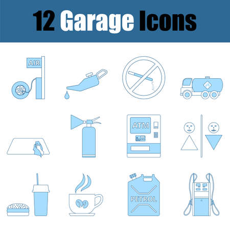 Garage Icon Set. Thin Line With Blue Fill Design. Vector Illustration.