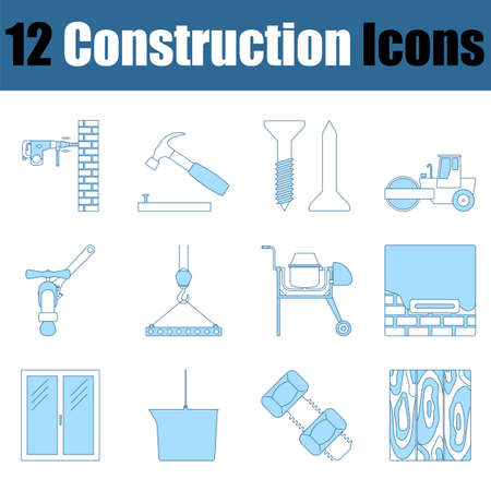 Construction Icon Set. Thin Line With Blue Fill Design. Vector Illustration.
