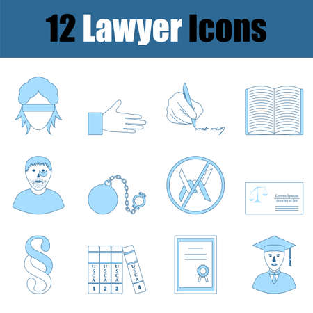 Lawyer Icon Set. Thin Line With Blue Fill Design. Vector Illustration.