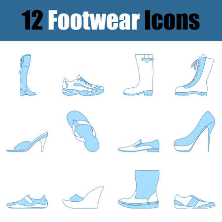 Footwear Icon Set. Thin Line With Blue Fill Design. Vector Illustration.