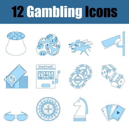 Gambling Icon Set. Thin Line With Blue Fill Design. Vector Illustration. Vector Illustration