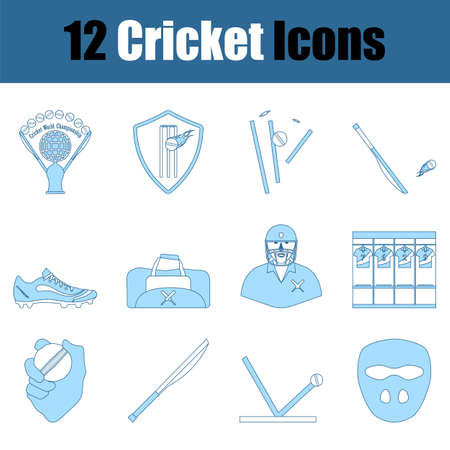 Cricket Icon Set. Thin Line With Blue Fill Design. Vector Illustration.