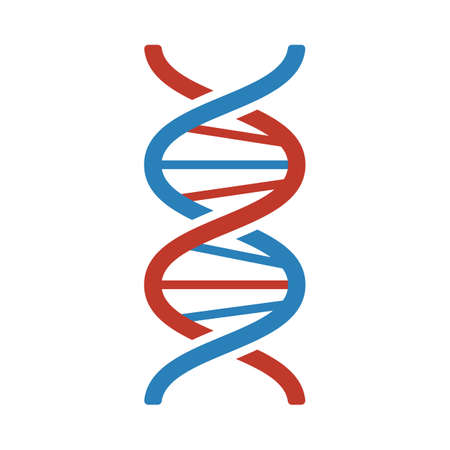 DNA Icon. Flat Color Design. Illustration.