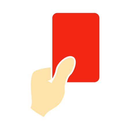 Soccer Referee Hand With Card Icon. Flat Color Design. Illustration.
